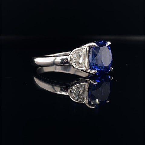 Sapphire and half moon diamond ring