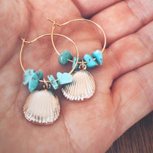 Load image into Gallery viewer, Turquoise shell hoops