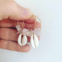 Load image into Gallery viewer, Rose Quartz & Shell hoops