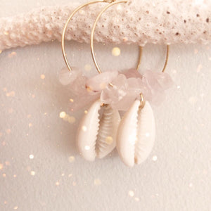 Rose Quartz & Shell hoops