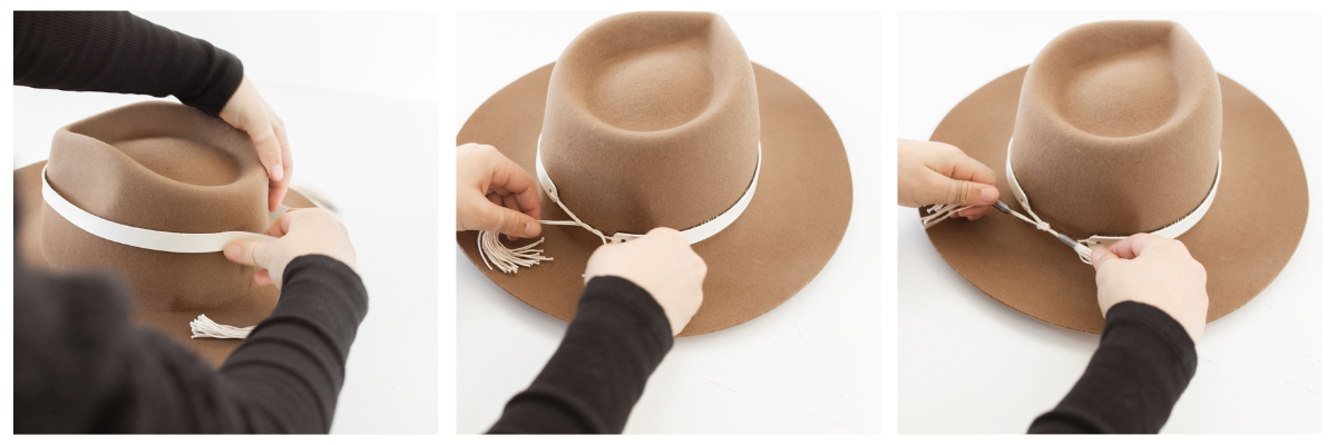 tie hat band on hat
