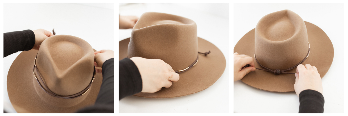 leather band on hats