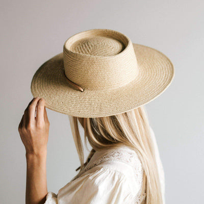 GIGI PIP Hats for Women- Aiden Straw Pork Pie - Cream-Straw Hats