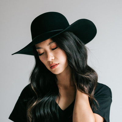 GIGI PIP Hats for Women- Annabella Floppy Hat - Black-Felt Hats