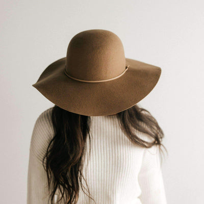 GIGI PIP Hats for Women- Annabella Floppy Hat - Brown-Felt Hats
