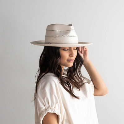 GIGI PIP Hats for Women- Arlo Cream Band - Straw Teardrop Fedora-Straw Hats