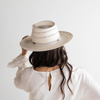 GIGI PIP Hats for Women- Arlo Grey Band - Straw Teardrop Fedora-Straw Hats