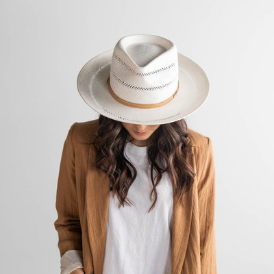 GIGI PIP Hats for Women- Arlo Tan Band - Straw Teardrop Fedora-Straw Hats