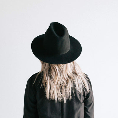 GIGI PIP Hats for Women- Billie Tall Fedora - Black-Felt Hats