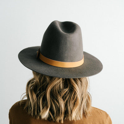GIGI PIP Hats for Women- Billie Tall Fedora - Dark Grey-Felt Hats