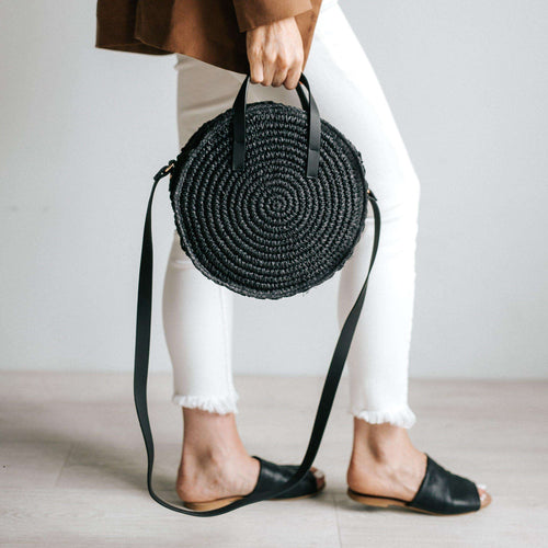GIGI PIP Hats for Women- Black Straw Circle Crossbody Bag-Bag