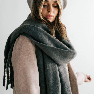 GIGI PIP Hats for Women- Blanket Scarf - Grey-Scarf