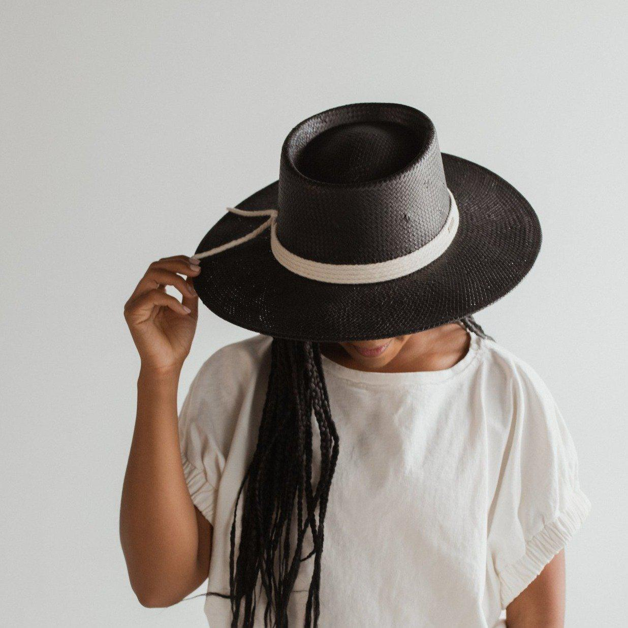 GIGI PIP Hats for Women- Bre Straw Pork Pie - Black-Straw Hats
