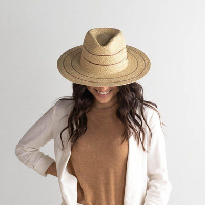 GIGI PIP Hats for Women- Camila Fedora - Natural with Stripes-Straw Hats
