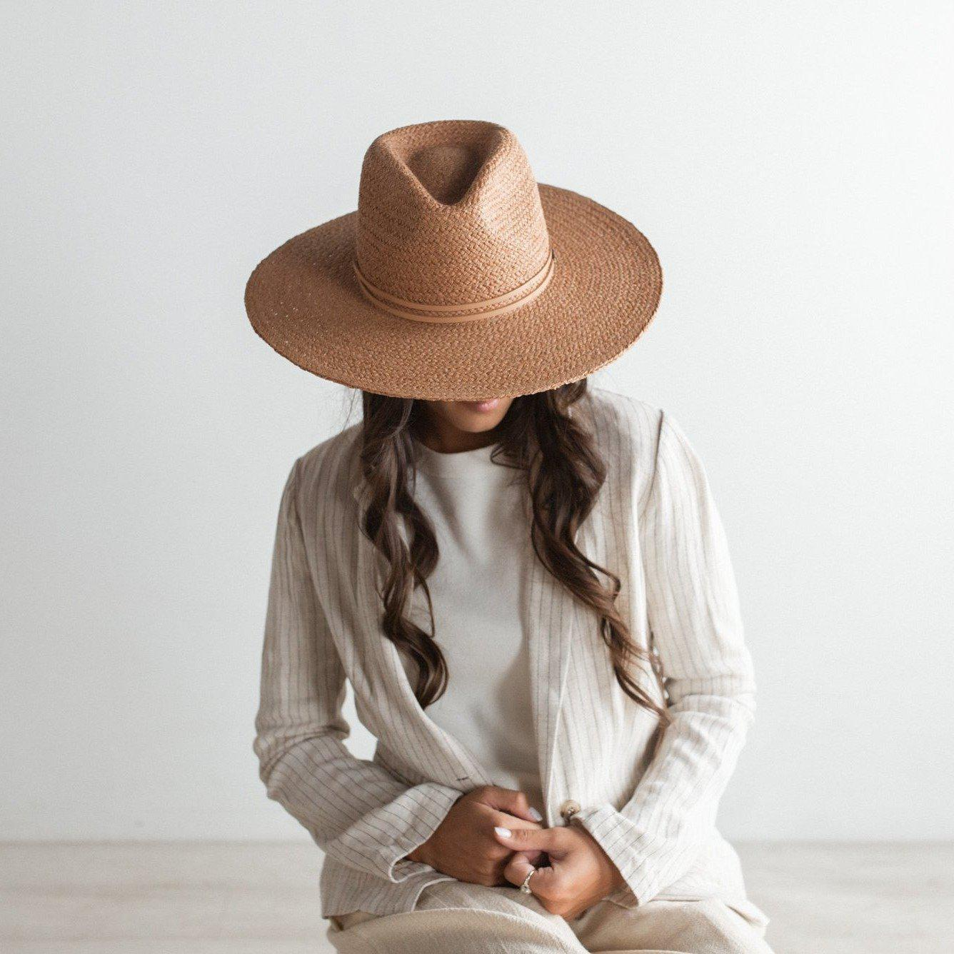 GIGI PIP Hats for Women- Camila Fedora - Rust-Straw Hats