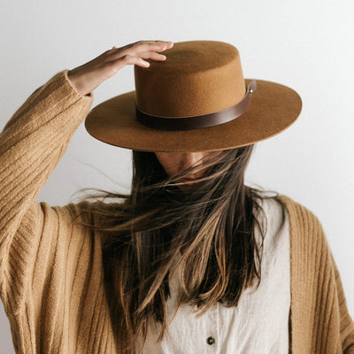 GIGI PIP Hats for Women- Dahlia Boater - Brown-Felt Hats