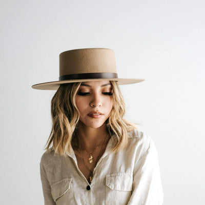 GIGI PIP Hats for Women- Dahlia Boater - Tan-Felt Hats