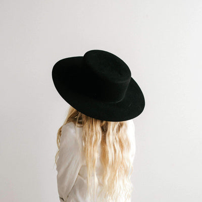 GIGI PIP Hats for Women- Dahlia Kids Boater - Black-Felt Hats