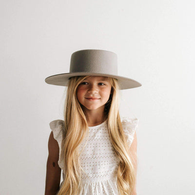 GIGI PIP Hats for Women- Dahlia Kids Boater - Light Grey-Felt Hats