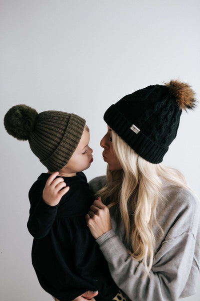 GIGI PIP Hats for Women- Dani - Kids Cable Knit Beanie with Pom-Kids beanie