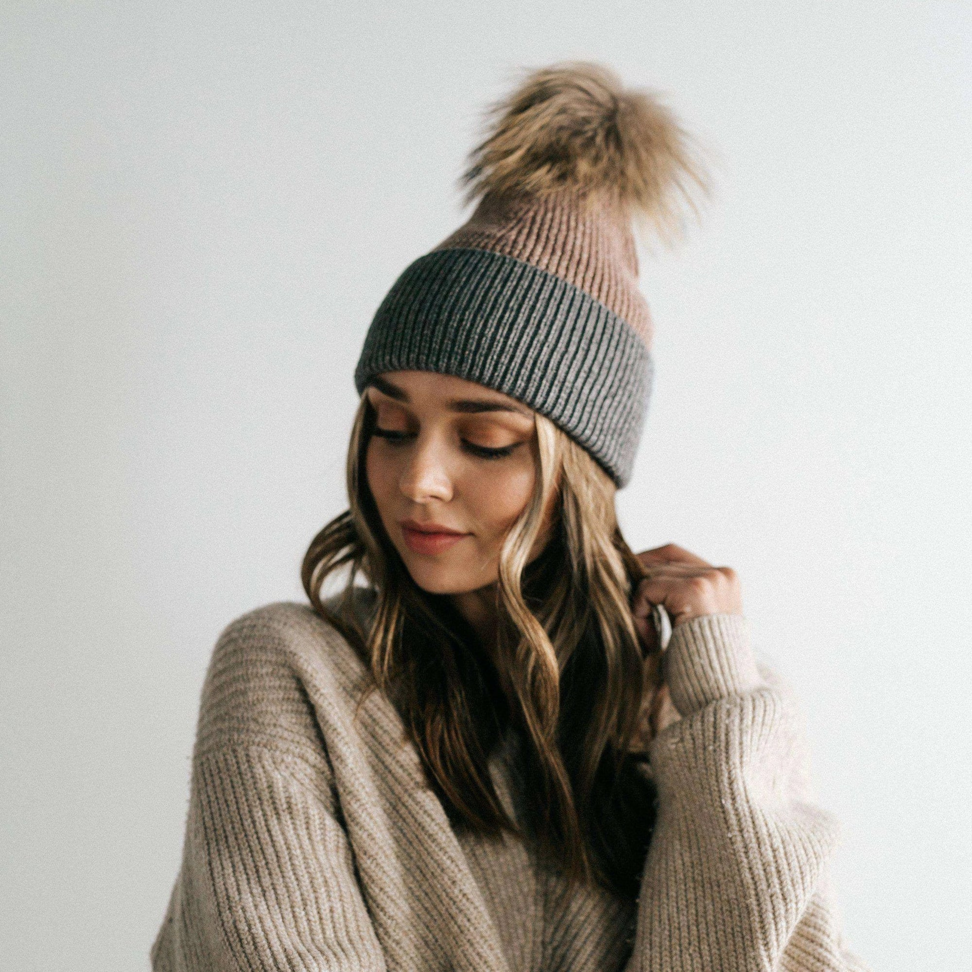 GIGI PIP Hats for Women- Dann Beanie - Taupe and Grey-Beanie