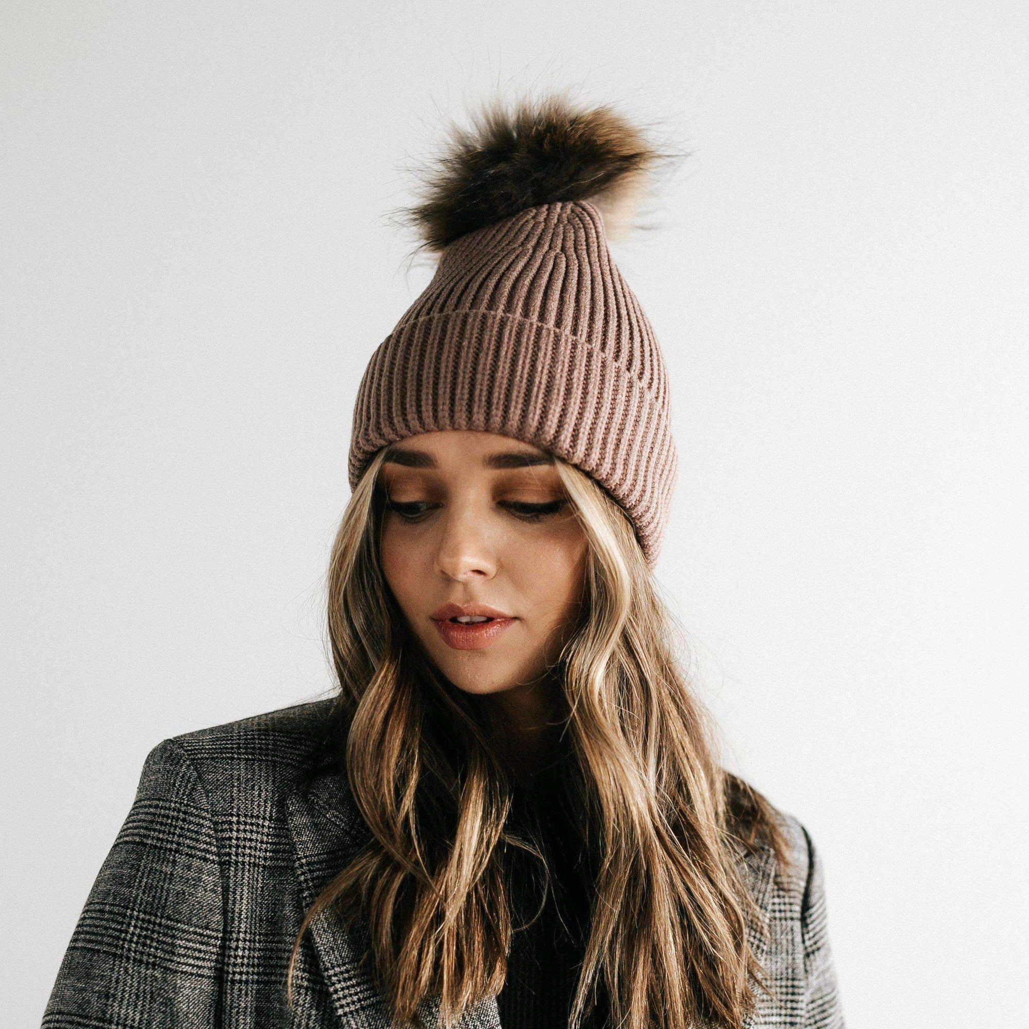 GIGI PIP Hats for Women- Dann Beanie - Taupe with Natural Pom-Beanie