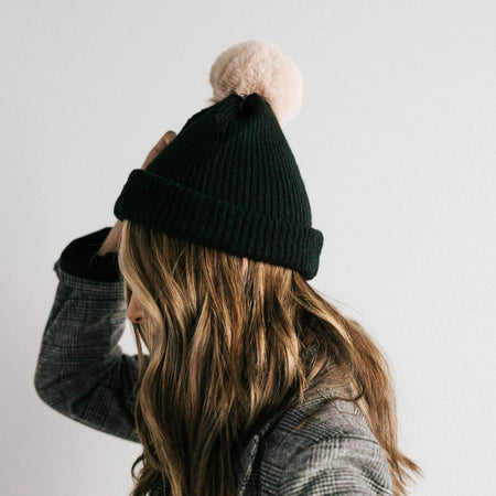 Emery Black with Black - Knit Beanie with Oversized Pom