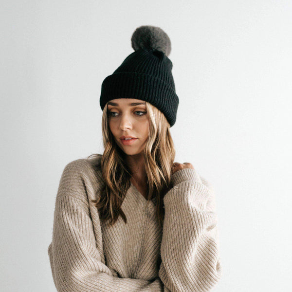 GIGI PIP Hats for Women- Dylan Beanie - Black with Grey Pom-Beanie