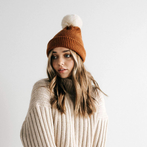 GIGI PIP Hats for Women- Dylan Beanie - Brown with Cream Pom-Beanie