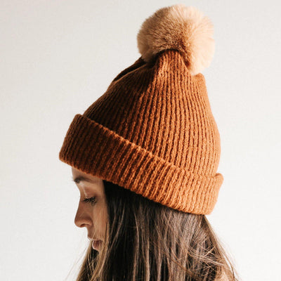 GIGI PIP Hats for Women- Dylan Beanie - Brown with Tan Pom-Beanie