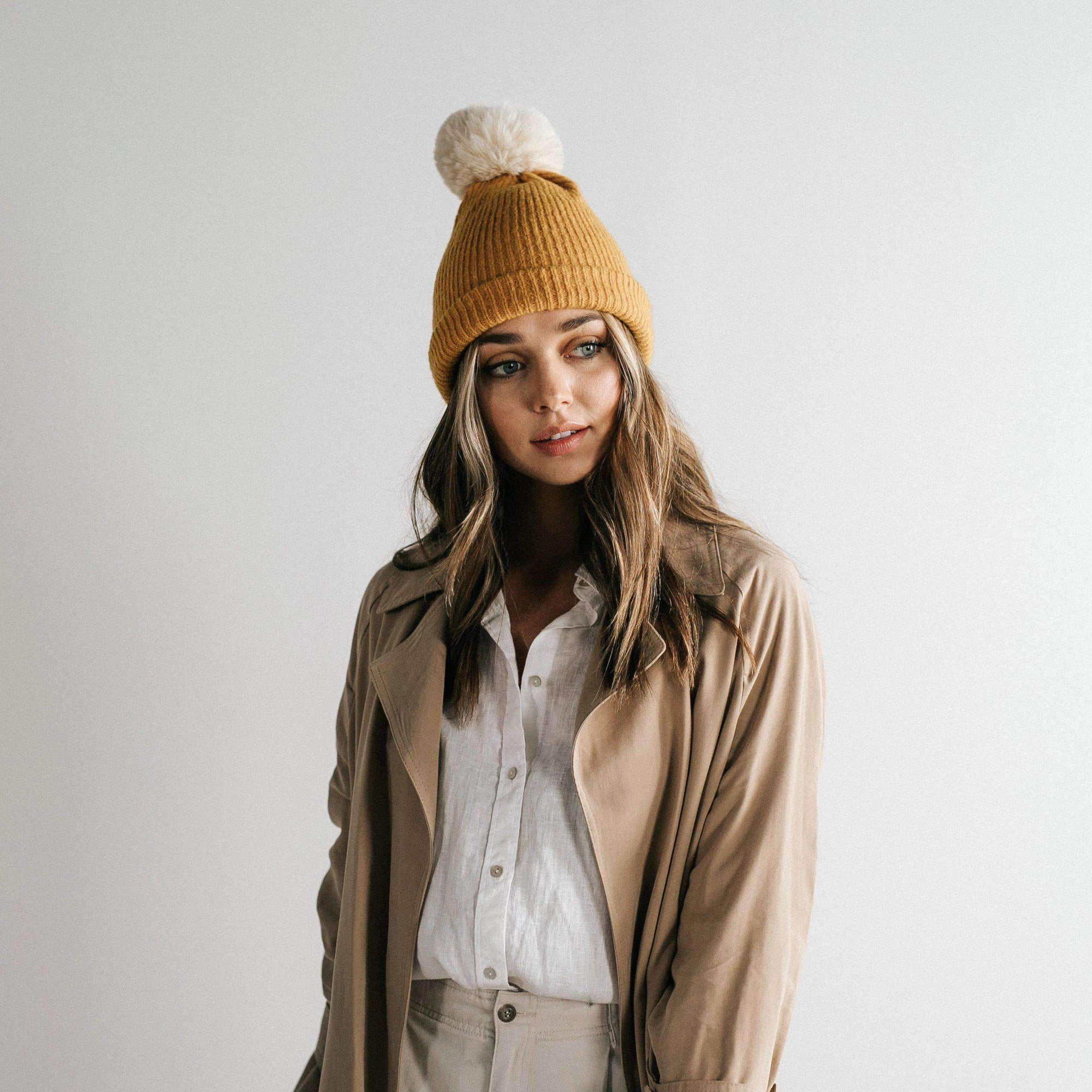 GIGI PIP Hats for Women- Dylan Beanie - Mustard with Cream Pom-Beanie
