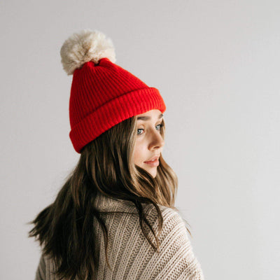 GIGI PIP Hats for Women- Dylan Beanie - Red with Cream Pom-Beanie