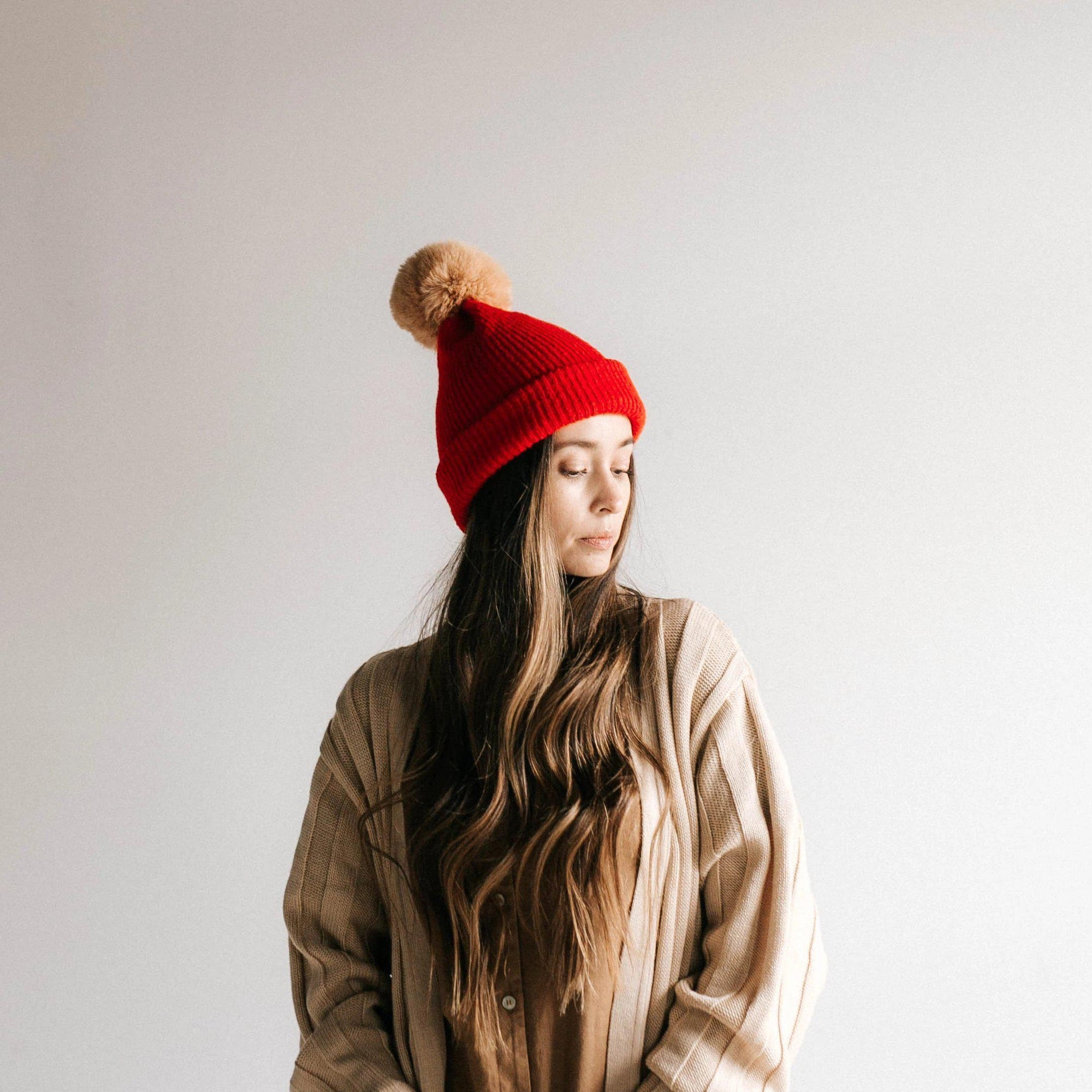 GIGI PIP Hats for Women- Dylan Beanie - Red with Tan Pom-Beanie