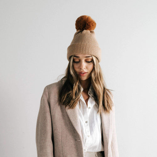 GIGI PIP Hats for Women- Dylan Beanie - Tan with Brown Pom-Beanie