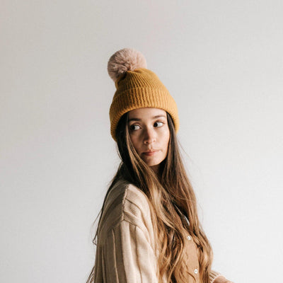 GIGI PIP Hats for Women- Dylan - Mustard with Blush pom-Beanie