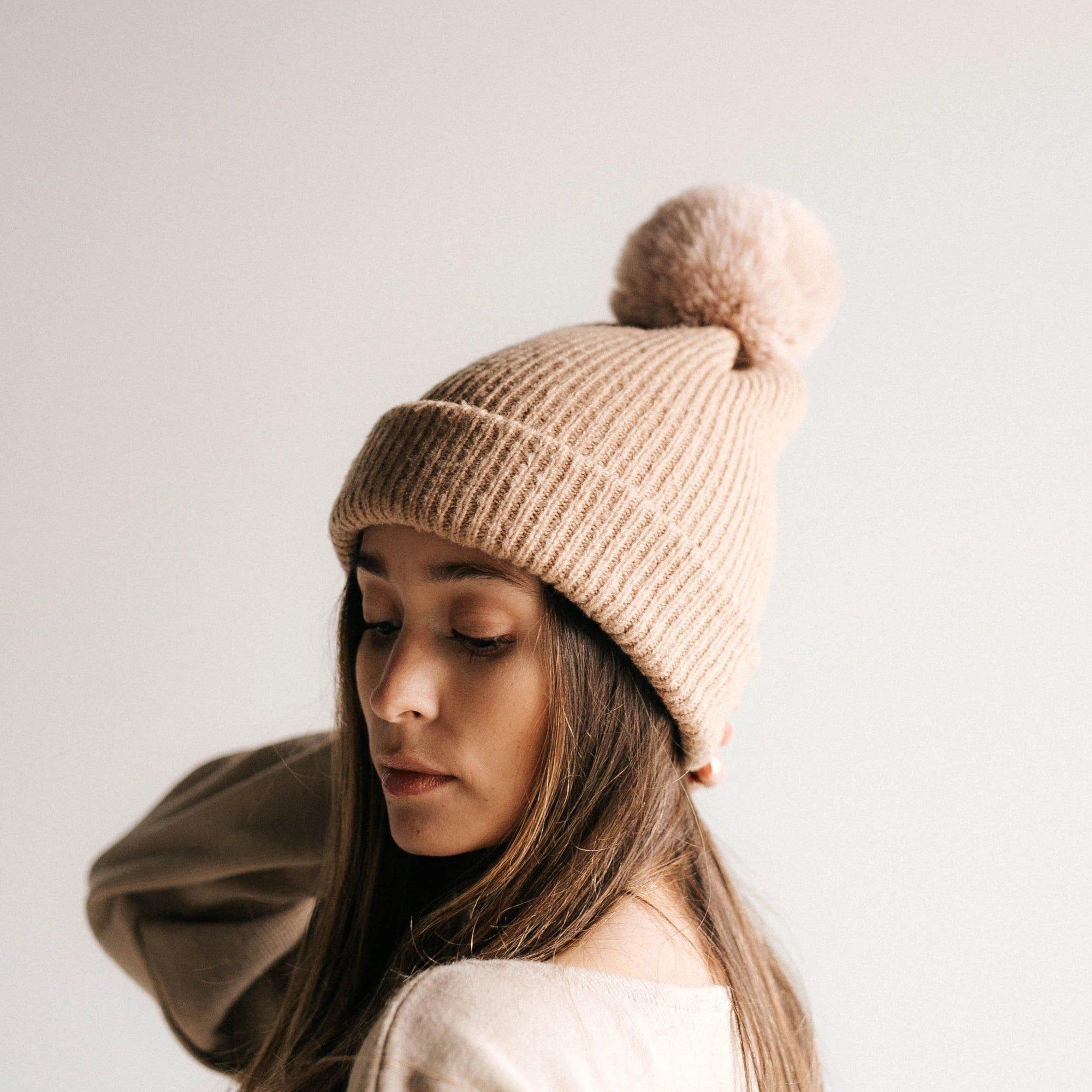 GIGI PIP Hats for Women- Dylan - Tan with Blush Pom-Beanie
