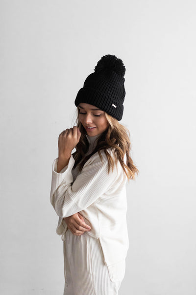 GIGI PIP Hats for Women- Emery Beanie - Black with Black Pom-Beanie