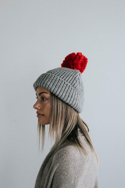 GIGI PIP Hats for Women- Emery Beanie - Grey with Red Pom-Beanie
