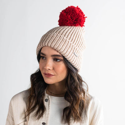 GIGI PIP Hats for Women- Emery Beanie - Oatmeal with Red Pom-Beanie