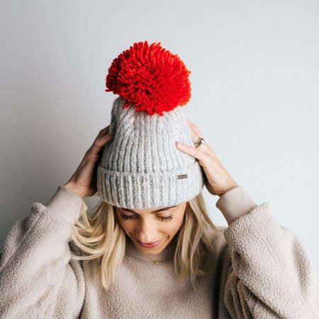 Romy - Textured Stripe Hat with Pink Pom