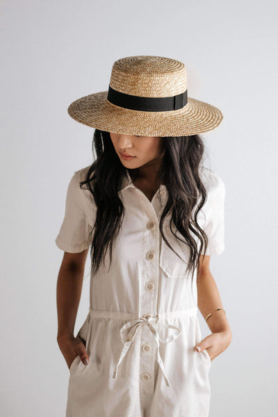 GIGI PIP Hats for Women- Faye Medium Straw Boater - Natural-Straw Hats