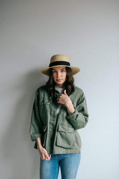 GIGI PIP Hats for Women- Faye Short Straw Boater - Natural-Straw Hats