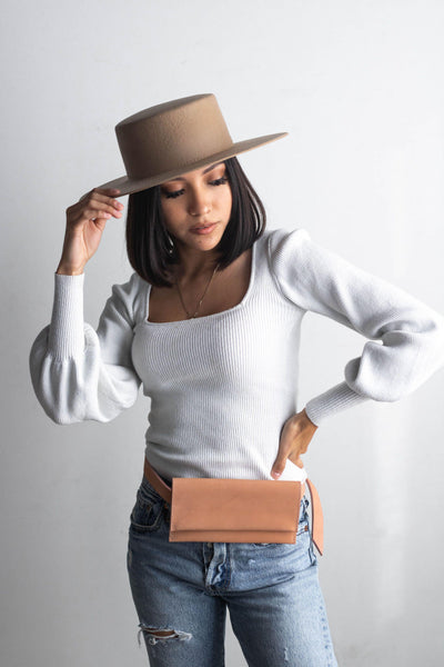 GIGI PIP Hats for Women- Genuine Leather Belt Bag - Blush-Bag