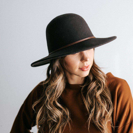 Faye - Black Straw Boater Hat