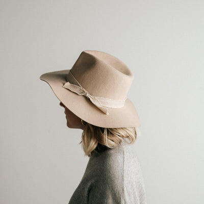 GIGI PIP Hats for Women- Hannah Floppy Fedora - Cream-Felt Hats