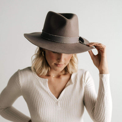 GIGI PIP Hats for Women- Hannah Floppy Fedora - Grey-Felt Hats