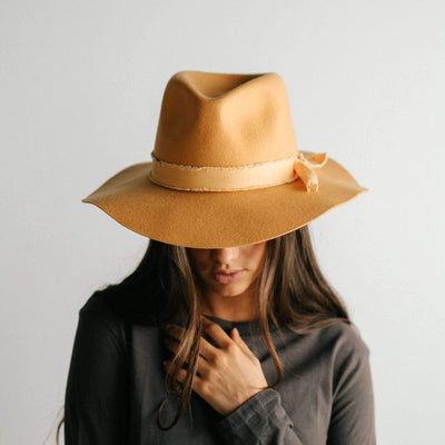 GIGI PIP Hats for Women- Hannah Floppy Fedora - Mustard-Felt Hats