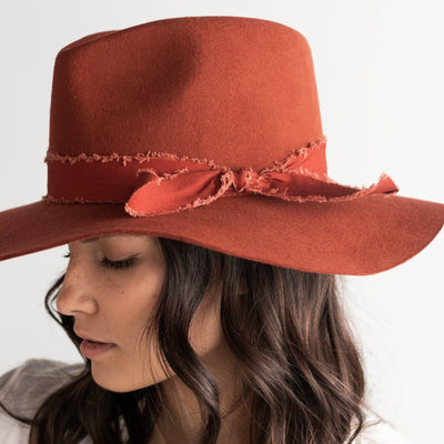 GIGI PIP Hats for Women- Hannah Floppy Fedora - Rust-Felt Hats