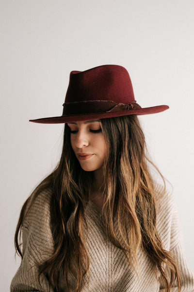 GIGI PIP Hats for Women- Hannah Maroon - Floppy Fedora-Felt Hats