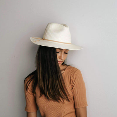 GIGI PIP Hats for Women- Jani Straw Fedora - Ivory-Straw Hats